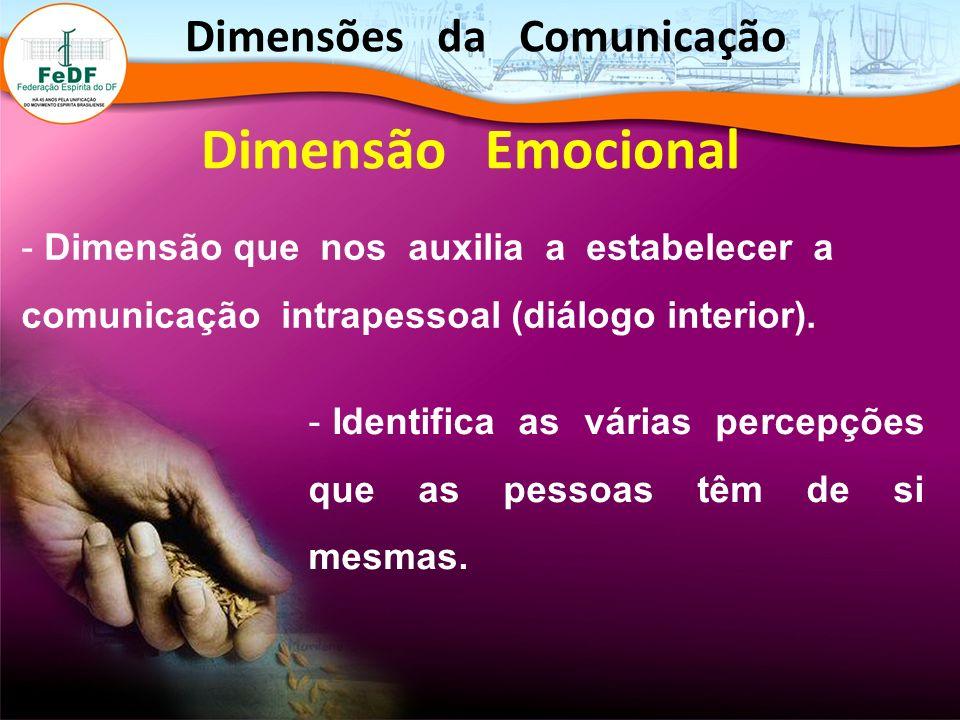 Dimensão Emocional - Dimensão que nos auxilia a estabelecer a comunicação intrapessoal (diálogo interior). - Identifica as várias percepções que as pe