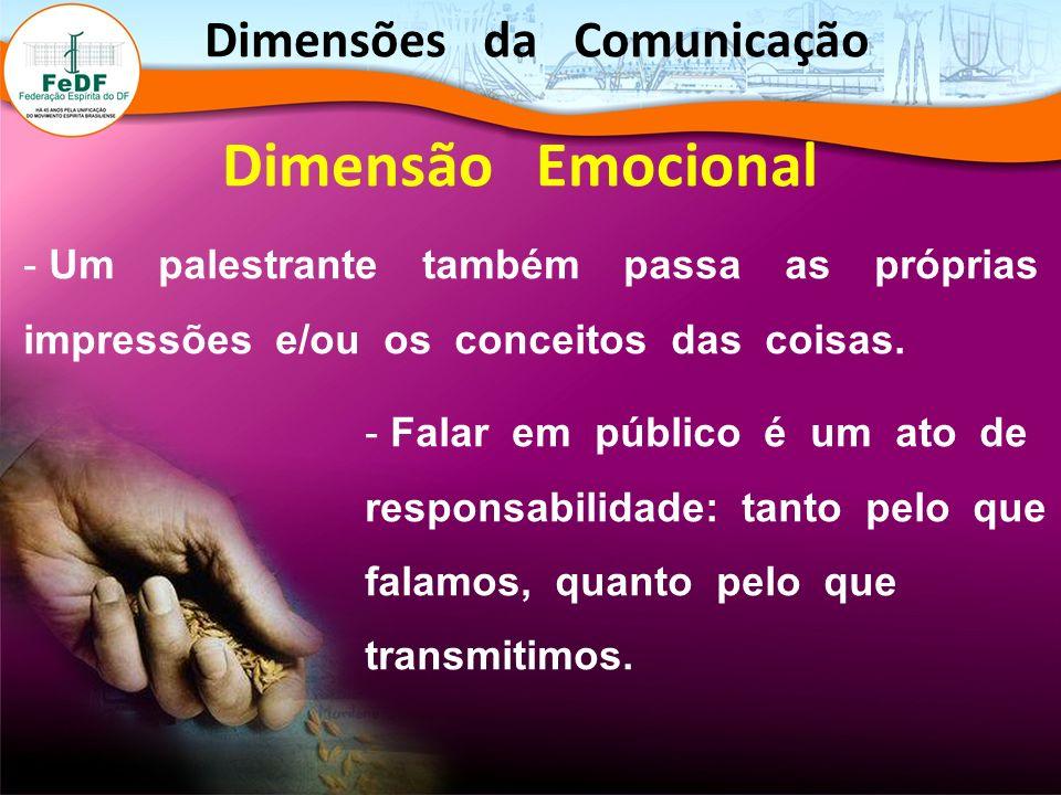 Dimensão Emocional - Um palestrante também passa as próprias impressões e/ou os conceitos das coisas. - Falar em público é um ato de responsabilidade:
