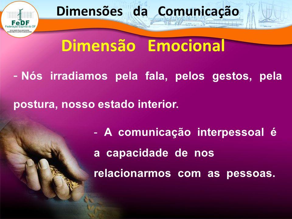 - Nós irradiamos pela fala, pelos gestos, pela postura, nosso estado interior. Dimensão Emocional - A comunicação interpessoal é a capacidade de nos r