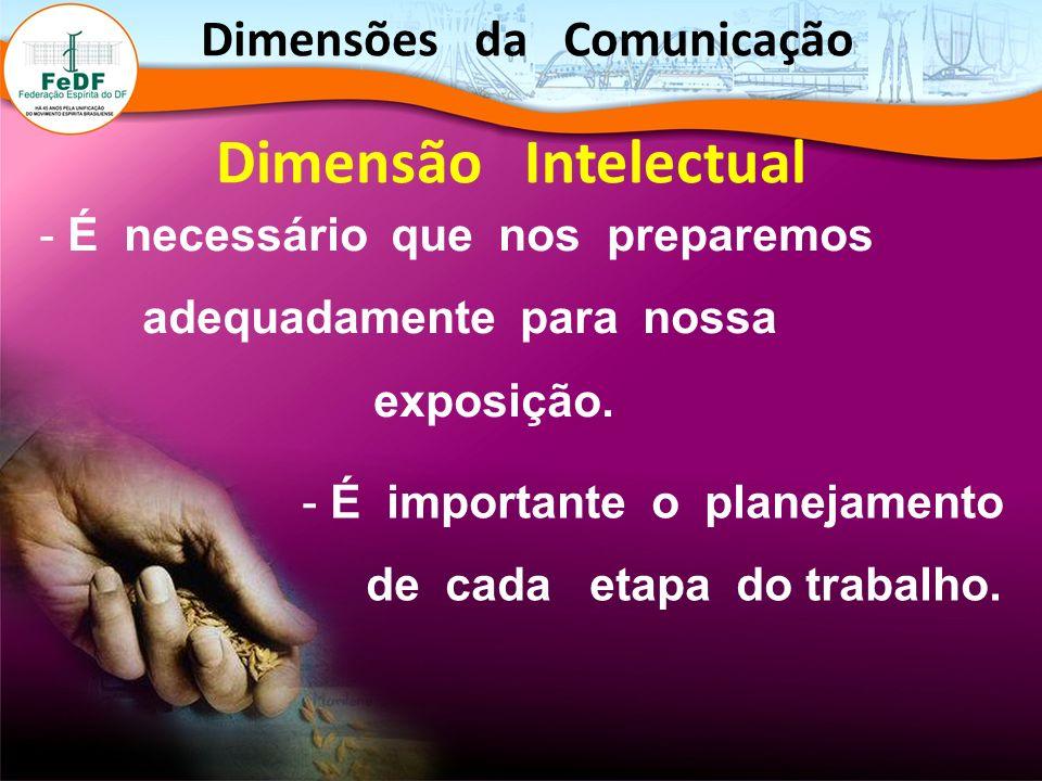 - É necessário que nos preparemos adequadamente para nossa exposição. Dimensões da Comunicação Dimensão Intelectual - É importante o planejamento de c