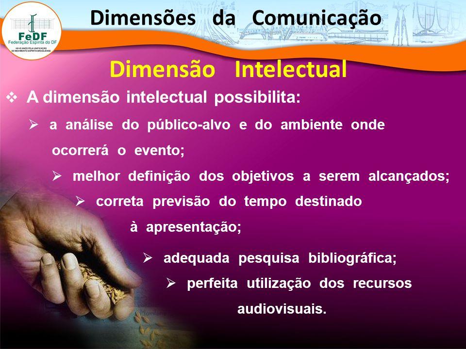 A dimensão intelectual possibilita: a análise do público-alvo e do ambiente onde ocorrerá o evento; melhor definição dos objetivos a serem alcançados;