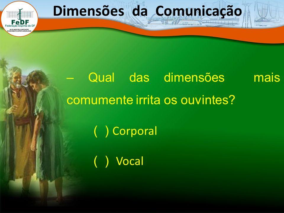 – Qual das dimensões mais comumente irrita os ouvintes? Dimensões da Comunicação ( ) Corporal ( ) Vocal