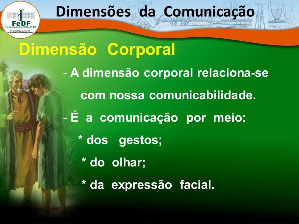 - A dimensão corporal relaciona-se com nossa comunicabilidade. - É a comunicação por meio: * dos gestos; * do olhar; * da expressão facial. Dimensões