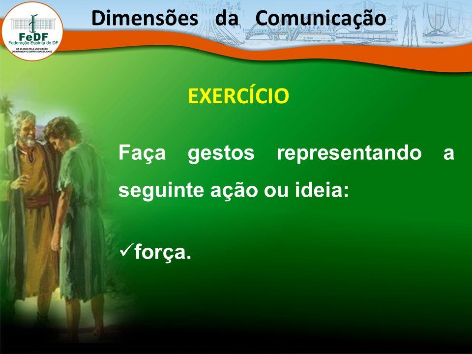 EXERCÍCIO Faça gestos representando a seguinte ação ou ideia: força. Dimensões da Comunicação