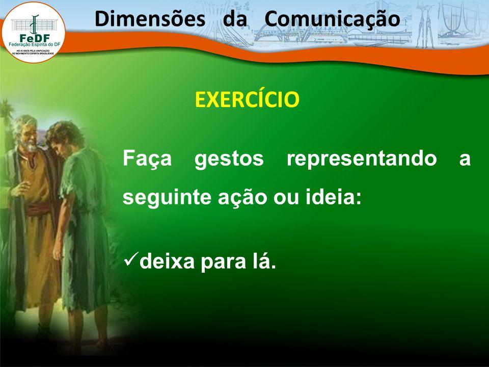 EXERCÍCIO Faça gestos representando a seguinte ação ou ideia: deixa para lá. Dimensões da Comunicação
