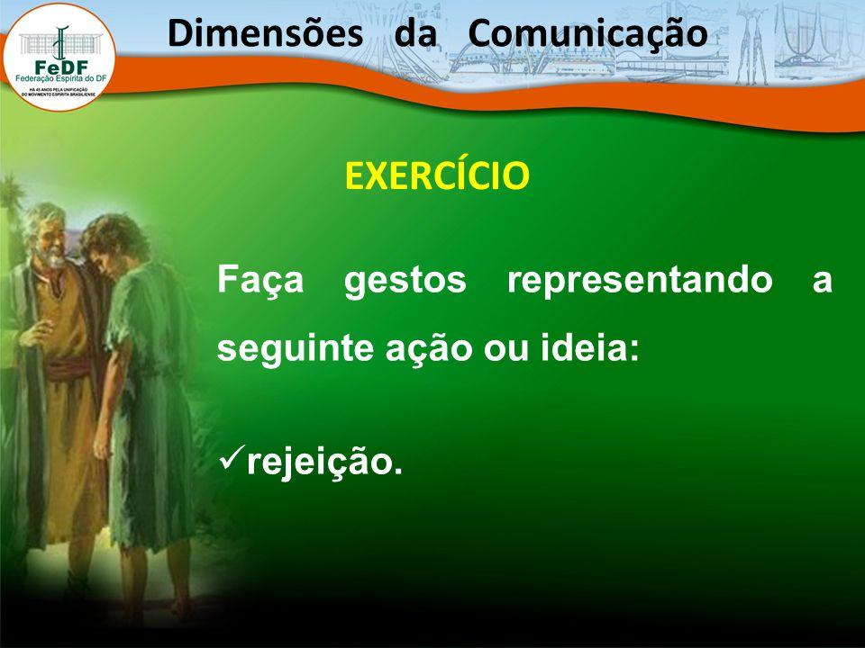 EXERCÍCIO Faça gestos representando a seguinte ação ou ideia: rejeição. Dimensões da Comunicação
