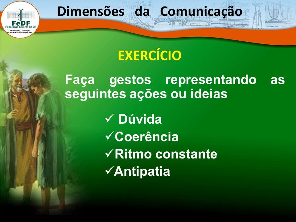 EXERCÍCIO Faça gestos representando as seguintes ações ou ideias Dúvida Coerência Ritmo constante Antipatia Dimensões da Comunicação