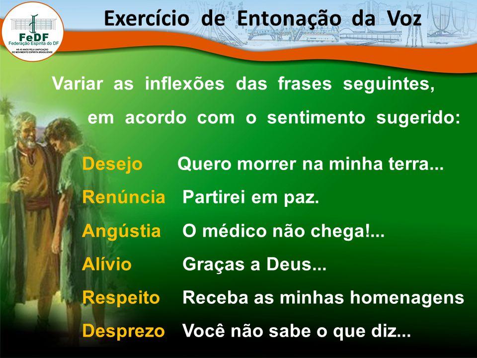 Exercício de Entonação da Voz Variar as inflexões das frases seguintes, em acordo com o sentimento sugerido: DesejoQuero morrer na minha terra... Renú
