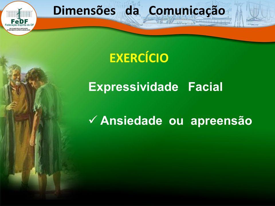 Dimensões da Comunicação EXERCÍCIO Expressividade Facial Ansiedade ou apreensão