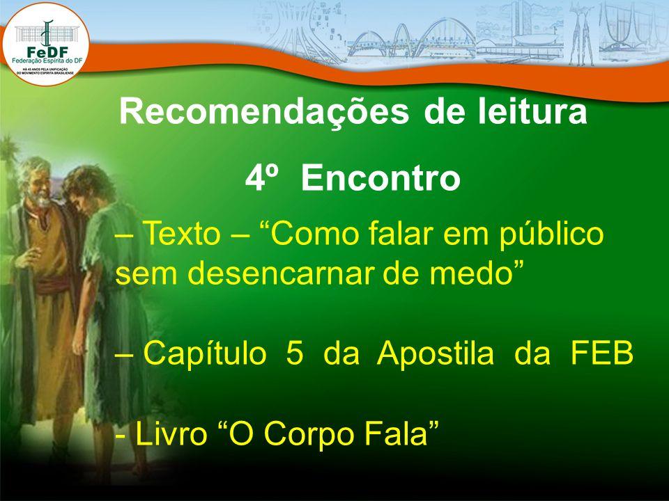 Recomendações de leitura 4º Encontro – Texto – Como falar em público sem desencarnar de medo – Capítulo 5 da Apostila da FEB - Livro O Corpo Fala