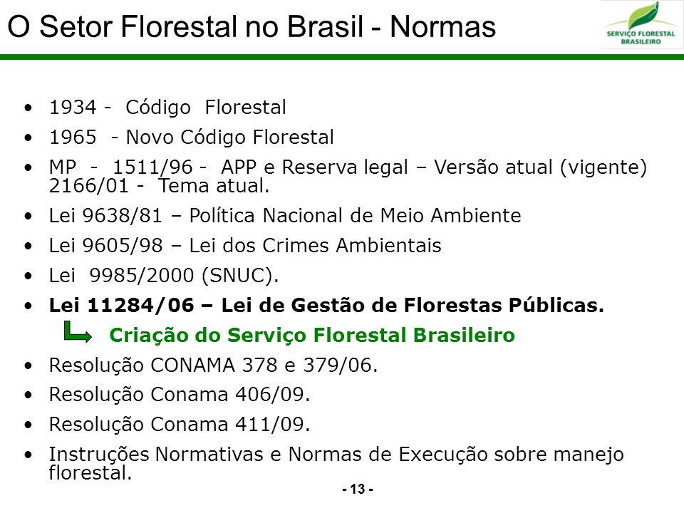 - 13 - Serviço Florestal Brasileiro na estrutura do MMA 1934 - Código Florestal 1965 - Novo Código Florestal MP - 1511/96 - APP e Reserva legal – Vers