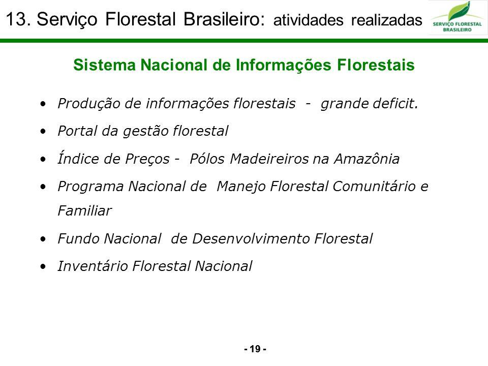 - 19 - Sistema Nacional de Informações Florestais 13. Serviço Florestal Brasileiro: atividades realizadas Produção de informações florestais - grande