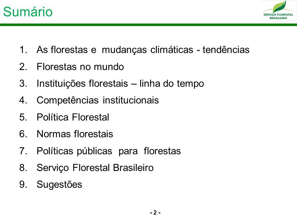 - 2 - Sumário 1.As florestas e mudanças climáticas - tendências 2.Florestas no mundo 3.Instituições florestais – linha do tempo 4.Competências institu