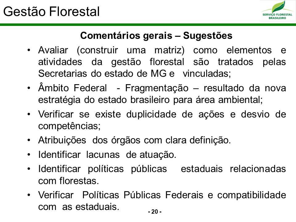 - 20 - Comentários gerais – Sugestões Avaliar (construir uma matriz) como elementos e atividades da gestão florestal são tratados pelas Secretarias do