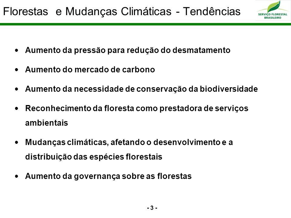 - 3 - Florestas e Mudanças Climáticas - Tendências - 3 - ia o Fundo Nacional de Desenvolvimento Florestal – FNDF Aumento da pressão para redução do de