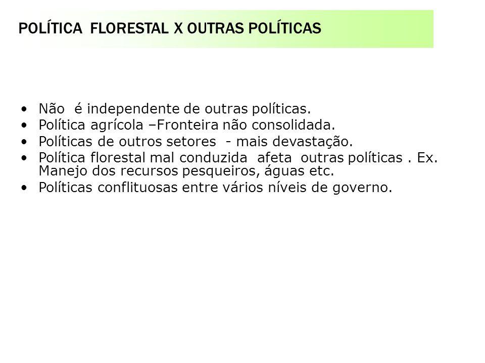 POLÍTICA FLORESTAL X OUTRAS POLÍTICAS Serviço Florestal Brasileiro na estrutura do MMA o Fundo Nacional de Desenvolvimento Florestal - FNDF Não é inde