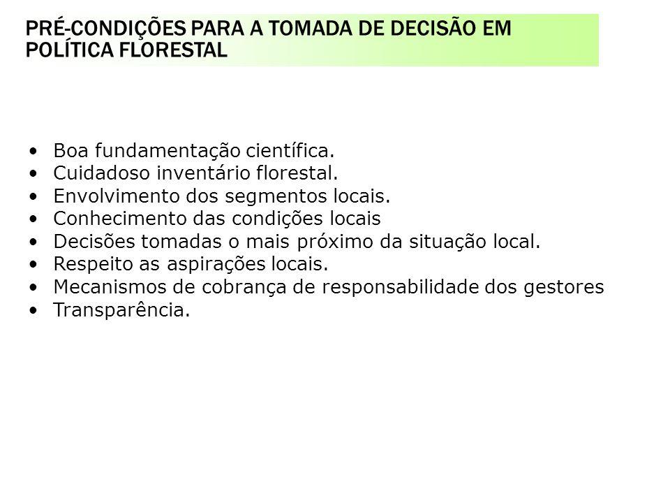 PRÉ-CONDIÇÕES PARA A TOMADA DE DECISÃO EM POLÍTICA FLORESTAL Serviço Florestal Brasileiro na estrutura do MMA o Fundo Nacional de Desenvolvimento Flor