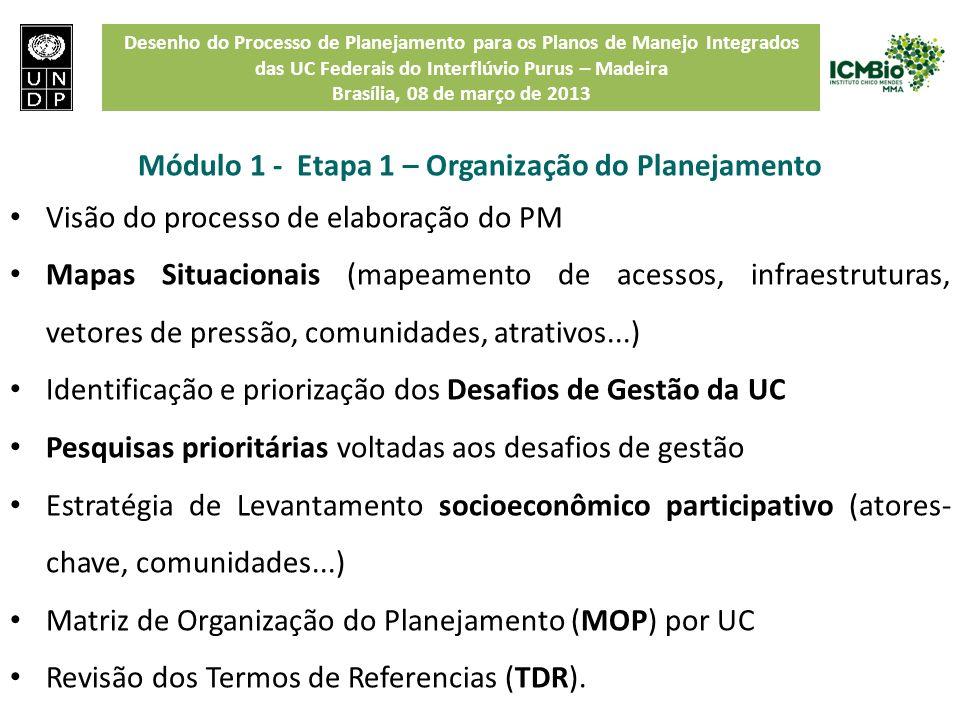 Desenho do Processo de Planejamento para os Planos de Manejo Integrados das UC Federais do Interflúvio Purus – Madeira Brasília, 08 de março de 2013 M