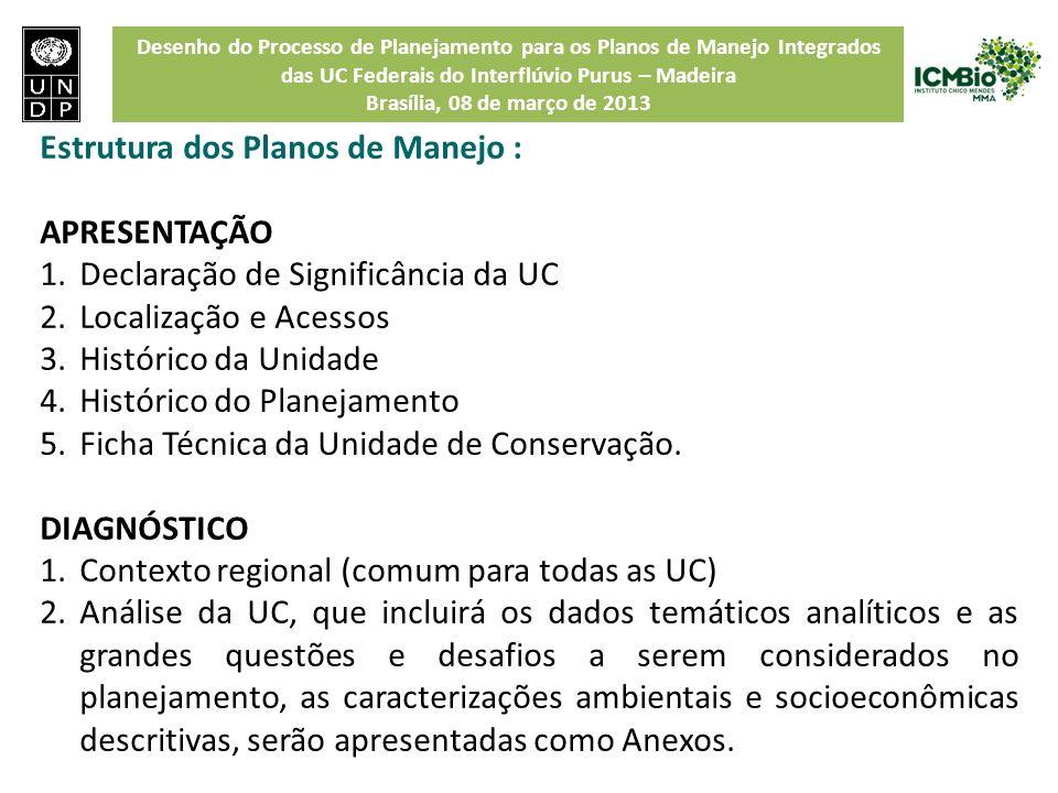 Desenho do Processo de Planejamento para os Planos de Manejo Integrados das UC Federais do Interflúvio Purus – Madeira Brasília, 08 de março de 2013 E