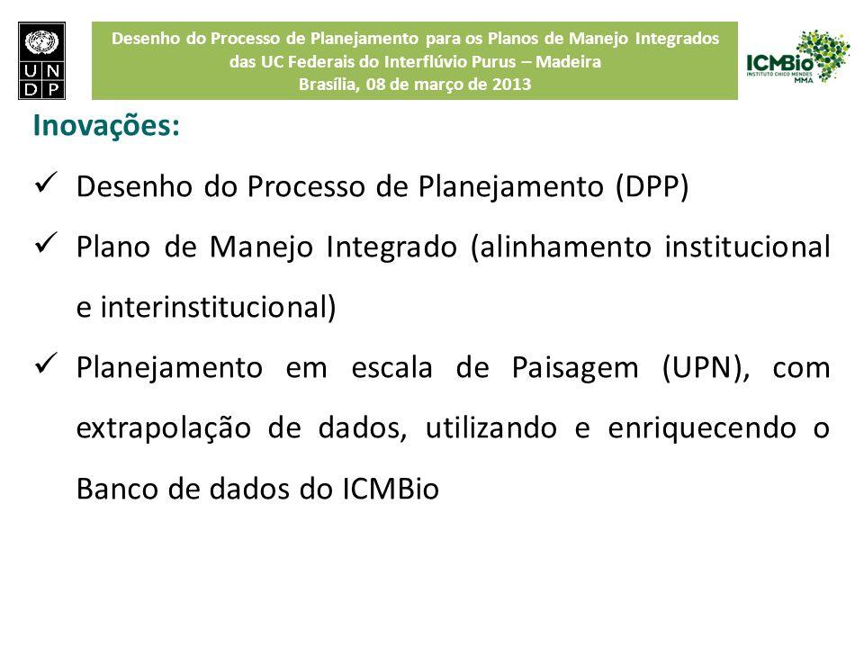 Desenho do Processo de Planejamento para os Planos de Manejo Integrados das UC Federais do Interflúvio Purus – Madeira Brasília, 08 de março de 2013 I