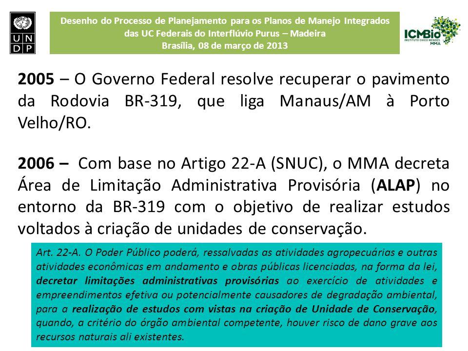 Desenho do Processo de Planejamento para os Planos de Manejo Integrados das UC Federais do Interflúvio Purus – Madeira Brasília, 08 de março de 2013 2