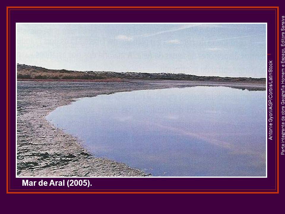 Parte integrante da obra Geografia Homem e Espaço, Editora Saraiva Antonie Gyori/AGP/Corbis/LatinStock Mar de Aral (2005).