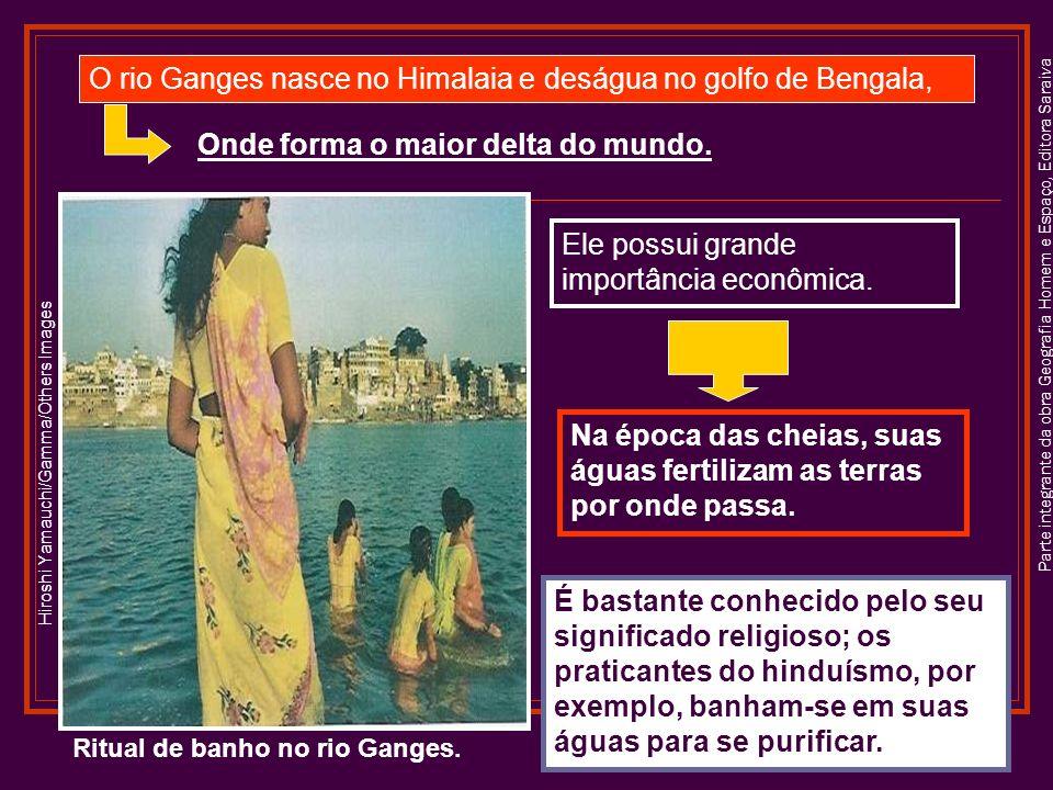 Parte integrante da obra Geografia Homem e Espaço, Editora Saraiva Ritual de banho no rio Ganges.