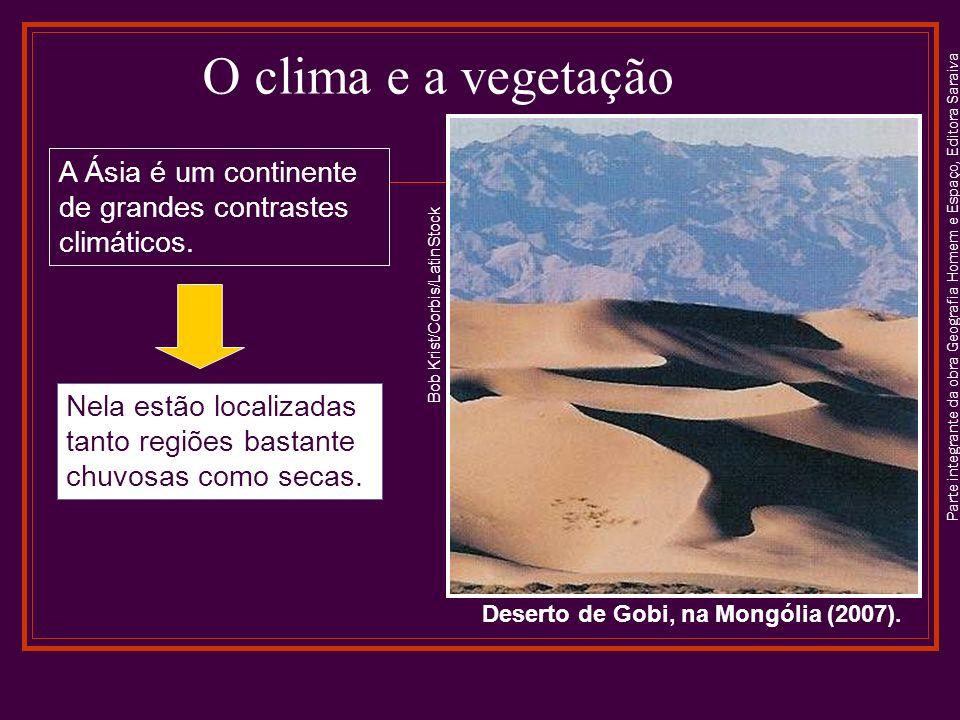 Parte integrante da obra Geografia Homem e Espaço, Editora Saraiva O clima e a vegetação Nela estão localizadas tanto regiões bastante chuvosas como secas.