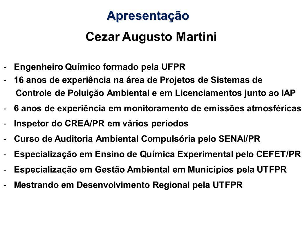 Cezar Augusto Martini - Engenheiro Químico formado pela UFPR -16 anos de experiência na área de Projetos de Sistemas de Controle de Poluição Ambiental