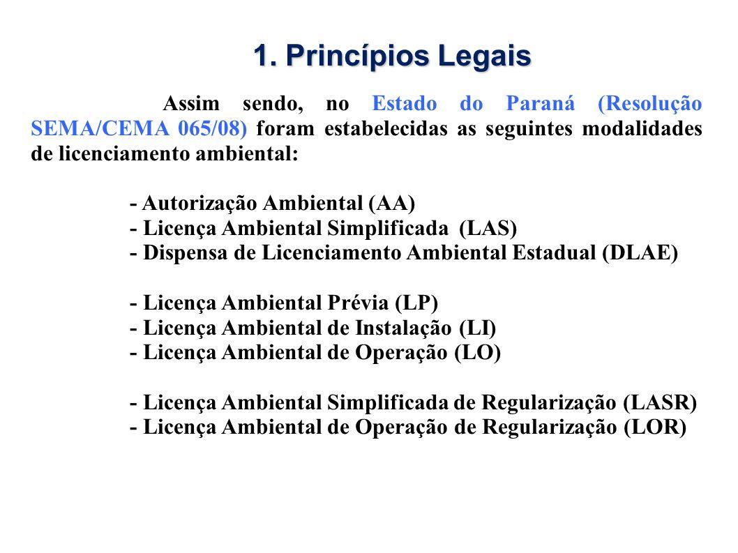 Assim sendo, no Estado do Paraná (Resolução SEMA/CEMA 065/08) foram estabelecidas as seguintes modalidades de licenciamento ambiental: - Autorização A