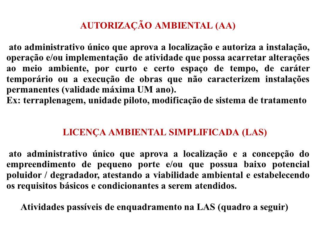 AUTORIZAÇÃO AMBIENTAL (AA) ato administrativo único que aprova a localização e autoriza a instalação, operação e/ou implementação de atividade que pos