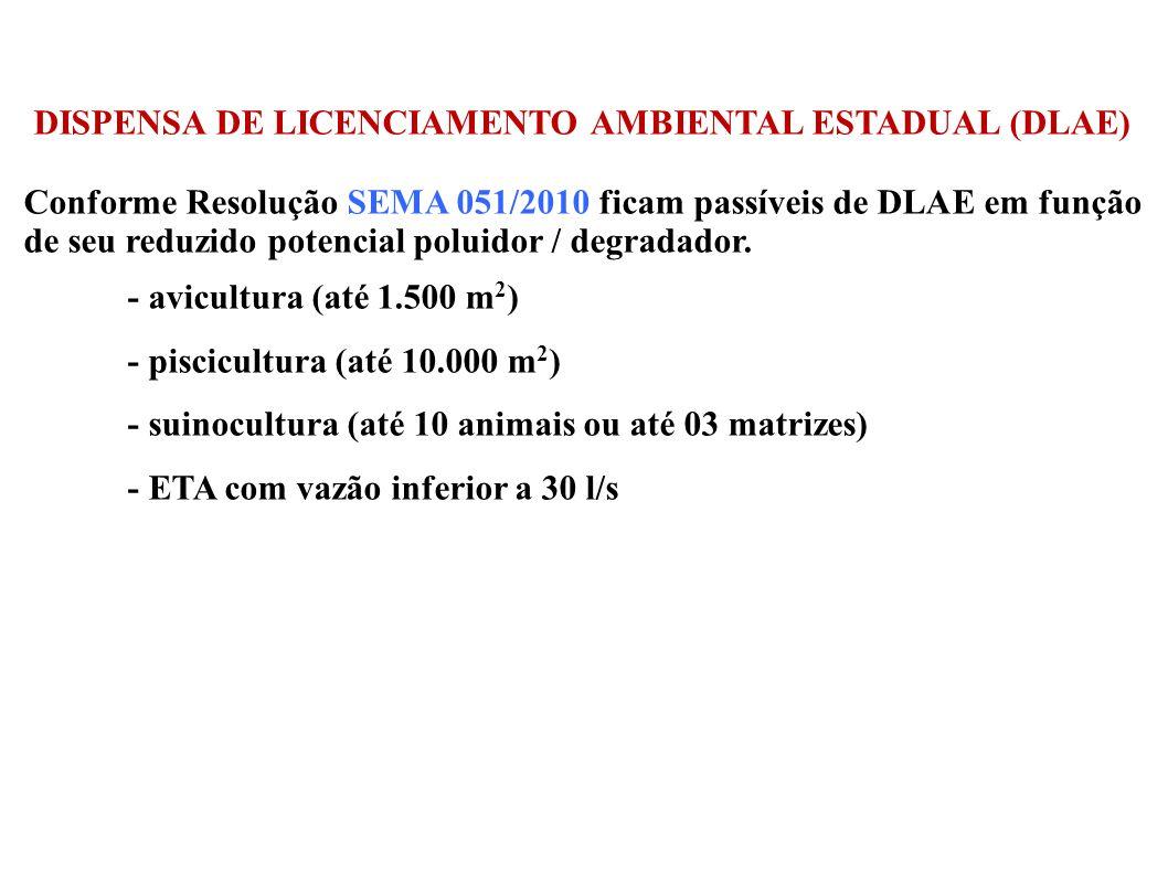 DISPENSA DE LICENCIAMENTO AMBIENTAL ESTADUAL (DLAE) Conforme Resolução SEMA 051/2010 ficam passíveis de DLAE em função de seu reduzido potencial polui
