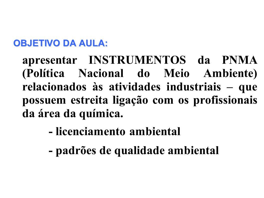 OBJETIVO DA AULA: apresentar INSTRUMENTOS da PNMA (Política Nacional do Meio Ambiente) relacionados às atividades industriais – que possuem estreita l