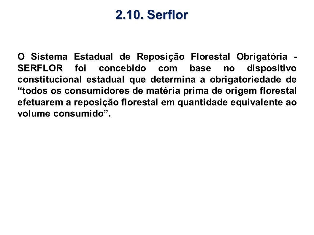 O Sistema Estadual de Reposição Florestal Obrigatória - SERFLOR foi concebido com base no dispositivo constitucional estadual que determina a obrigato