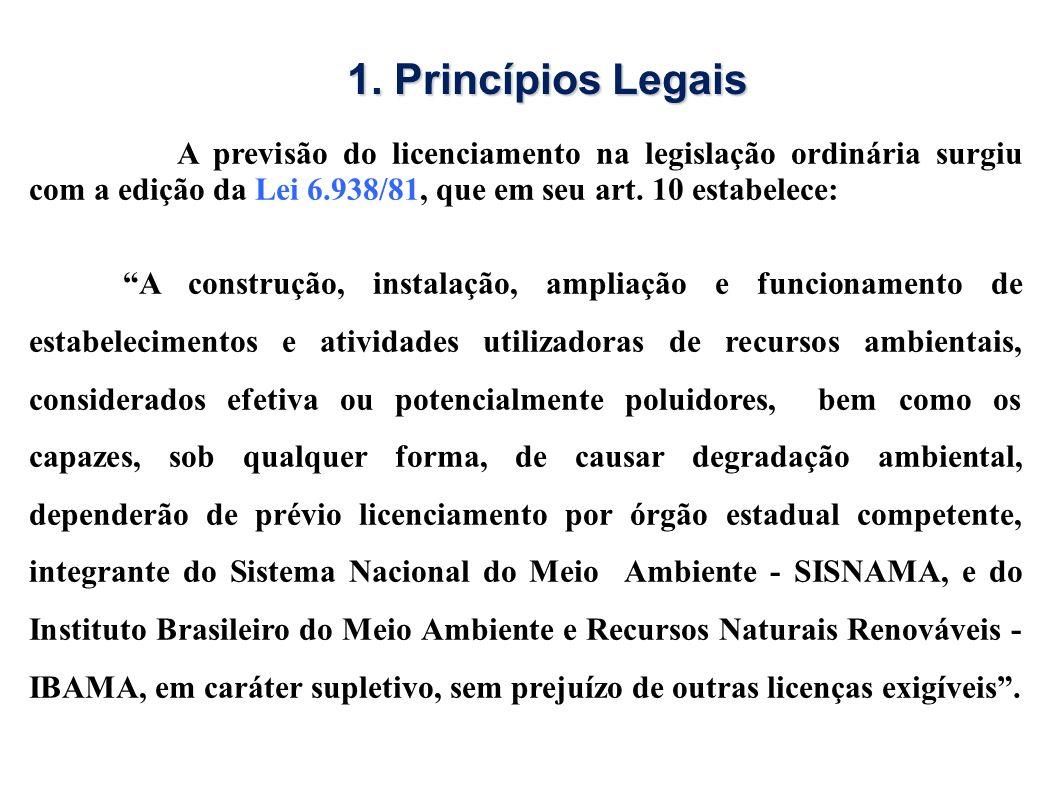 A previsão do licenciamento na legislação ordinária surgiu com a edição da Lei 6.938/81, que em seu art. 10 estabelece: A construção, instalação, ampl