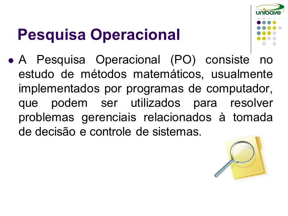 Pesquisa Operacional A Pesquisa Operacional (PO) consiste no estudo de métodos matemáticos, usualmente implementados por programas de computador, que