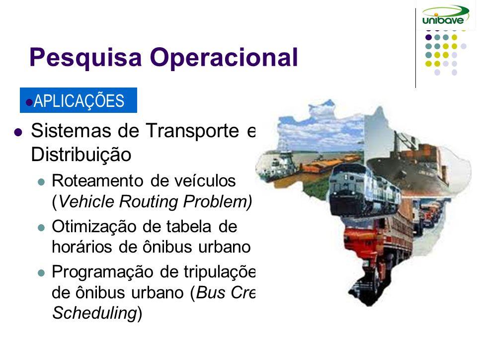 Pesquisa Operacional Sistemas de Transporte e Distribuição Roteamento de veículos (Vehicle Routing Problem) Otimização de tabela de horários de ônibus