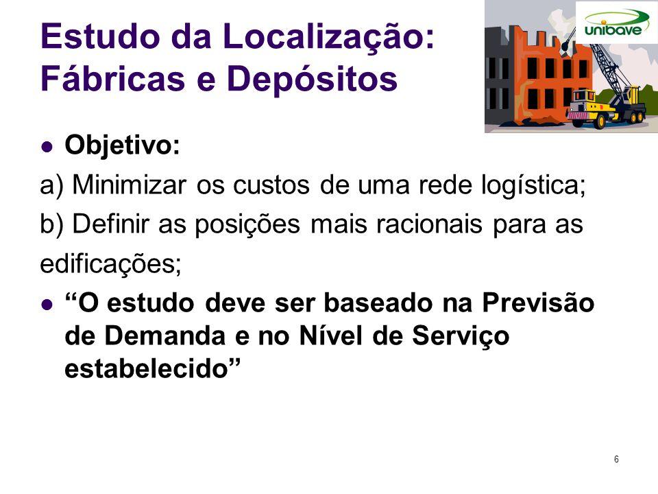 Estudo da Localização: Fábricas e Depósitos Objetivo: a) Minimizar os custos de uma rede logística; b) Definir as posições mais racionais para as edif