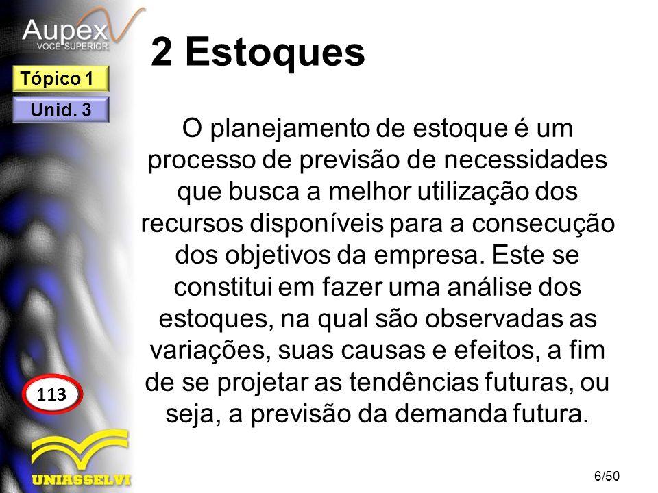 2 Estoques O planejamento de estoque é um processo de previsão de necessidades que busca a melhor utilização dos recursos disponíveis para a consecuçã