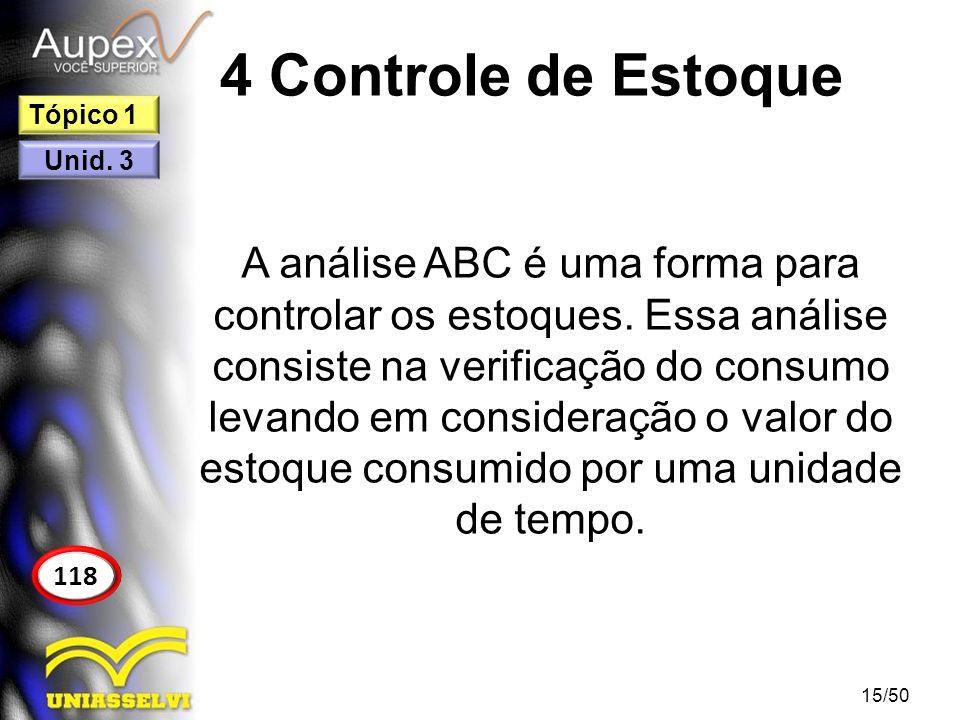 4 Controle de Estoque A análise ABC é uma forma para controlar os estoques. Essa análise consiste na verificação do consumo levando em consideração o