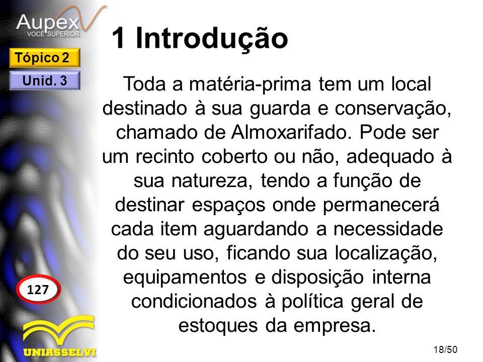 1 Introdução Toda a matéria-prima tem um local destinado à sua guarda e conservação, chamado de Almoxarifado. Pode ser um recinto coberto ou não, adeq
