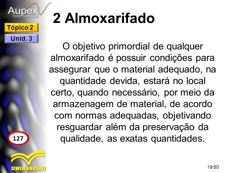 2 Almoxarifado O objetivo primordial de qualquer almoxarifado é possuir condições para assegurar que o material adequado, na quantidade devida, estará