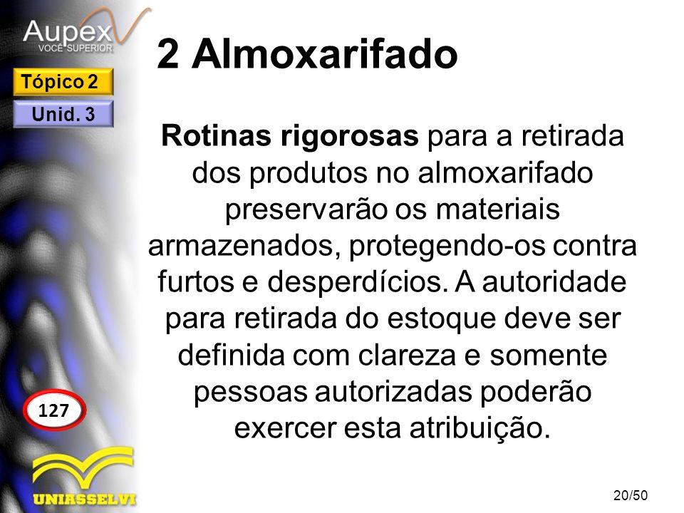 2 Almoxarifado Rotinas rigorosas para a retirada dos produtos no almoxarifado preservarão os materiais armazenados, protegendo-os contra furtos e desp