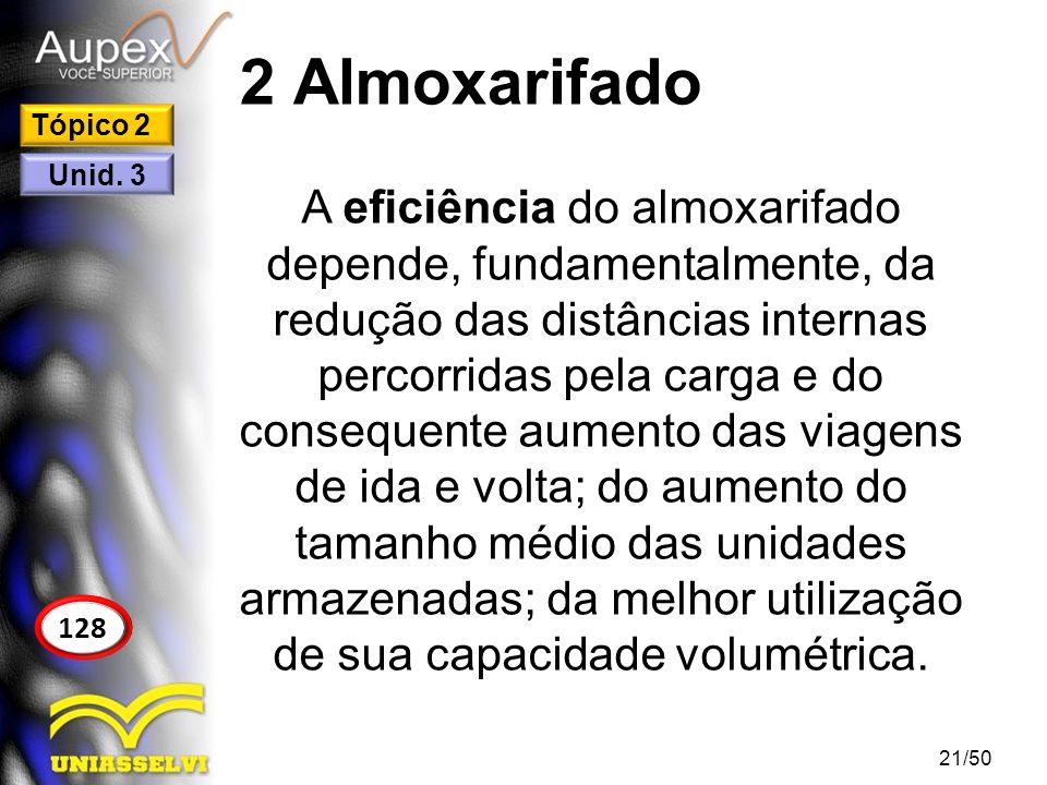 2 Almoxarifado A eficiência do almoxarifado depende, fundamentalmente, da redução das distâncias internas percorridas pela carga e do consequente aume