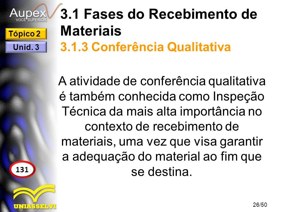 3.1 Fases do Recebimento de Materiais 3.1.3 Conferência Qualitativa A atividade de conferência qualitativa é também conhecida como Inspeção Técnica da