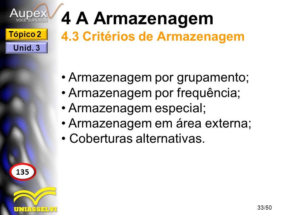 4 A Armazenagem 4.3 Critérios de Armazenagem Armazenagem por grupamento; Armazenagem por frequência; Armazenagem especial; Armazenagem em área externa