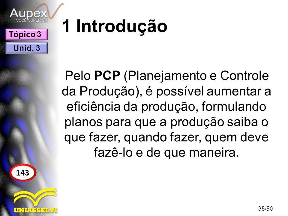 1 Introdução Pelo PCP (Planejamento e Controle da Produção), é possível aumentar a eficiência da produção, formulando planos para que a produção saiba