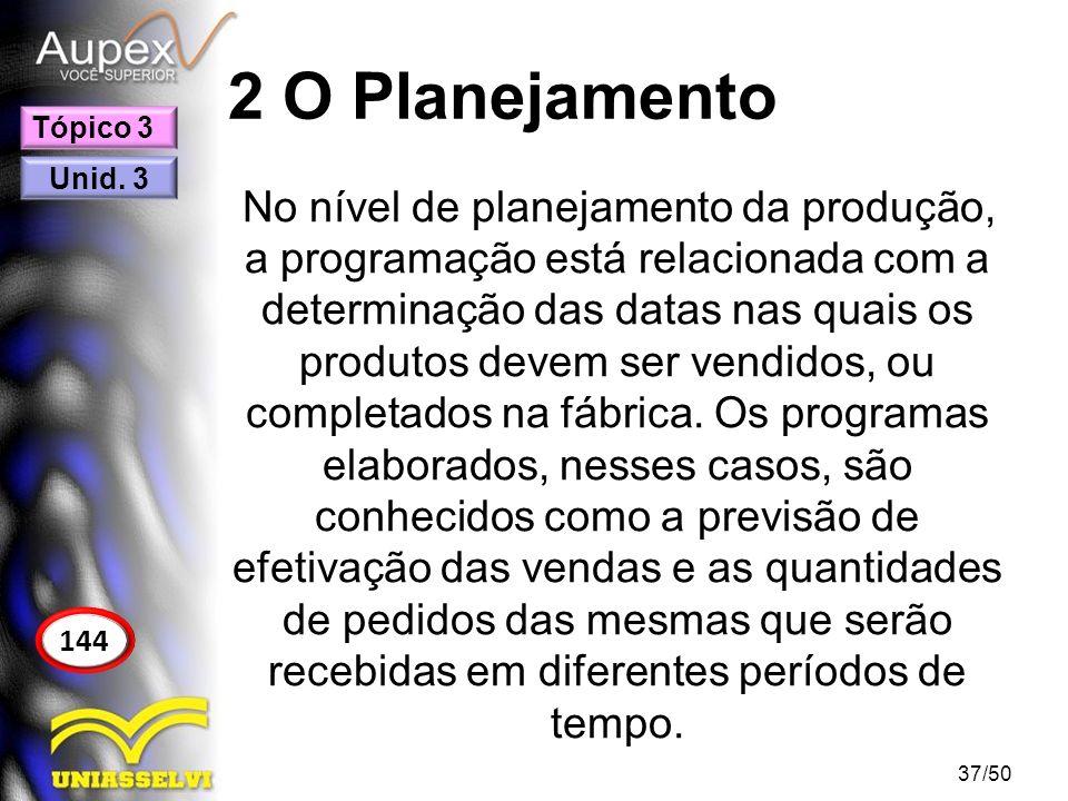 2 O Planejamento No nível de planejamento da produção, a programação está relacionada com a determinação das datas nas quais os produtos devem ser ven
