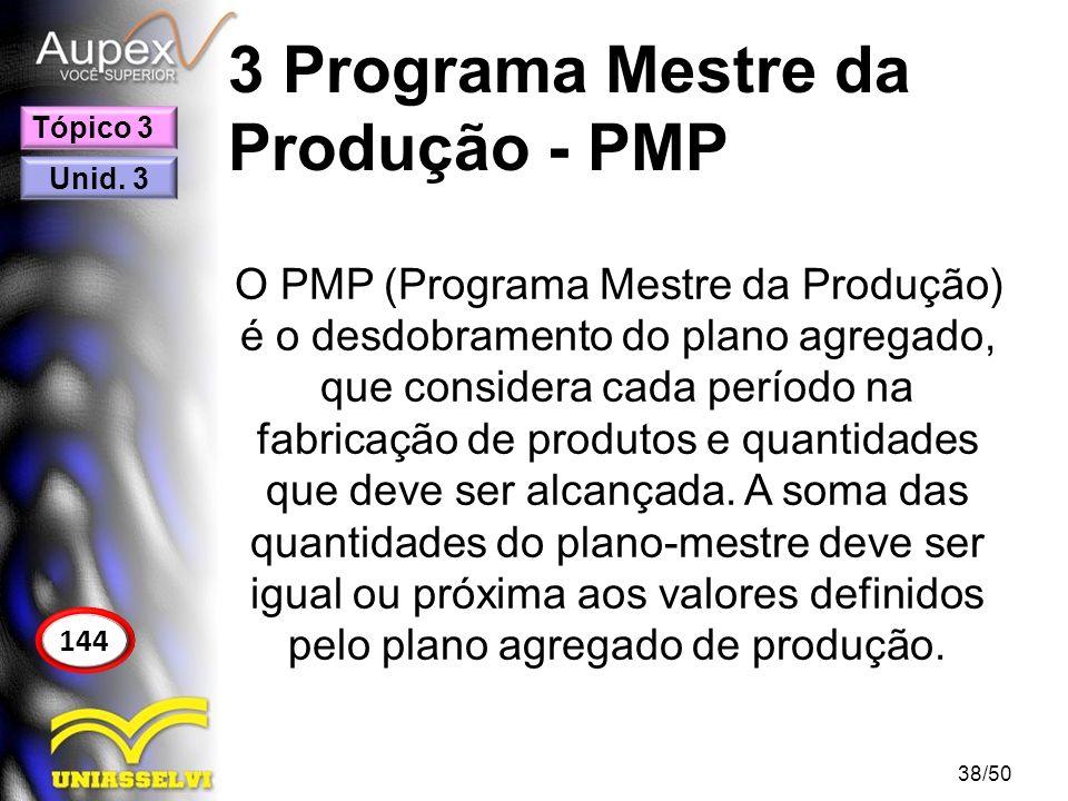 3 Programa Mestre da Produção - PMP O PMP (Programa Mestre da Produção) é o desdobramento do plano agregado, que considera cada período na fabricação