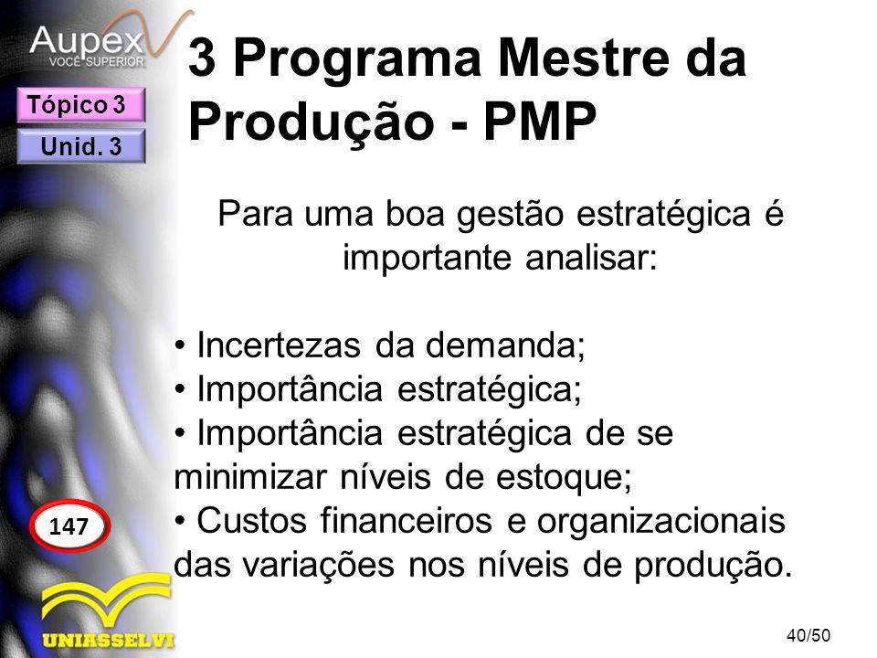 3 Programa Mestre da Produção - PMP Para uma boa gestão estratégica é importante analisar: Incertezas da demanda; Importância estratégica; Importância